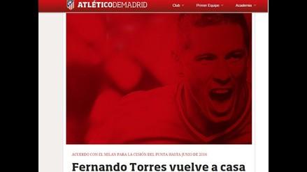 Atlético de Madrid oficializa el regreso de Fernando Torres