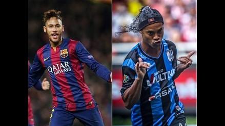 Neymar y Ronaldinho recibieron bien acompañados la llegada del 2015
