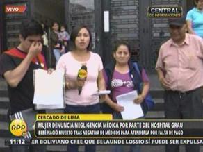 Familia de gestante denuncia negligencia médica en Hospital Grau
