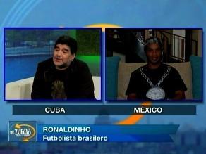 Diego Maradona entrevistó a Ronaldinho en su programa ´De Zurda´