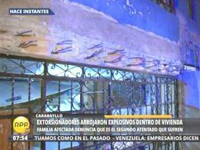 Sujetos lanzan explosivo dentro de vivienda en Carabayllo
