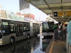 Metropolitano: Aniego en la estación Naranjal esta mañana