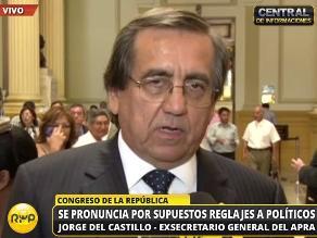Del Castillo: Reglaje beneficia y da el mejor argumento a Belaunde Lossio