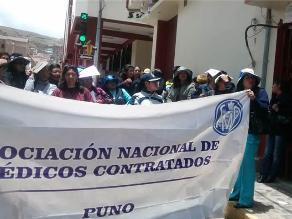 Puno: 100 trabajadores de salud se movilizaron por ampliación de contratos