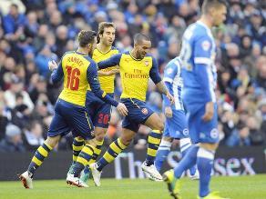 Arsenal venció 3-2 en reñido partido a Brighton & Hove y avanza en Copa FA