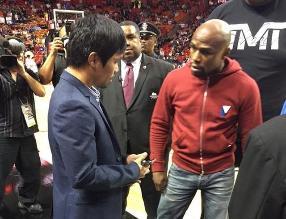 Manny Pacquiao y Floyd Mayweather se vieron e intercambiaron números
