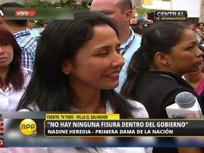 Nadine Heredia: No hay ninguna fisura dentro del Gobierno