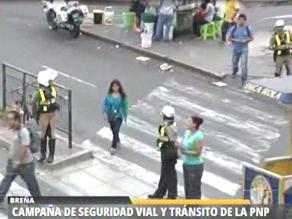 Policía implementa campaña de orientación y educación vial en av. Brasil