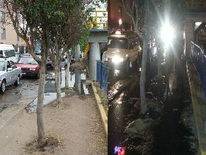 Tubería rota causa inundación y mal olor en San Luis