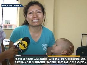 Familia arequipeña pide ayuda para salvar la vida de su hijo con leucemia