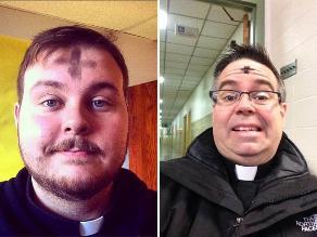 Sacerdotes comparten selfies con ceniza en redes sociales