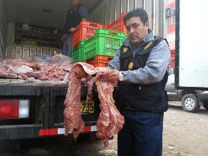 Áncash: PNP y Fiscalía incautan una tonelada de carne de burro y de caballo