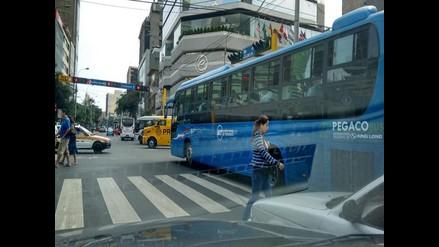 Bus del Corredor Azul obstaculiza paso de peatones