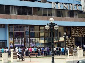 Agencias de Reniec en Lima y Callao atenderán en Semana Santa