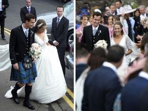 A la escocesa: Andy Murray lució una falda en su boda con Kim Sears