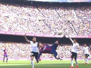 Barcelona vs. Valencia: Messi falla en su intento de hacer una 'chalaca'