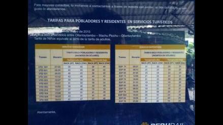 Cusco: anuncian aumento de precios para viaje en tren de residentes