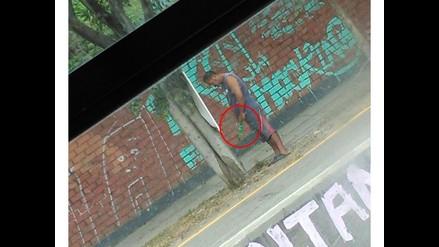 WhatsApp: captan a hombre orinando en plena vía pública