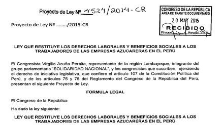 Lambayeque: Acuña impulsa Ley para restituir derechos de trabajadores azucareros