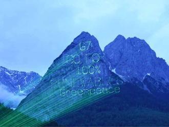 Greenpeace reclama al G7 desde los Alpes bávaros con proyección láser