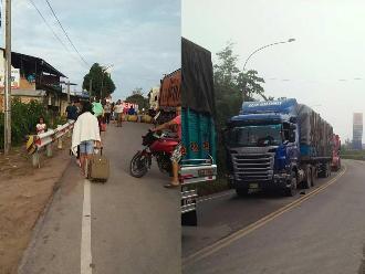 WhatsApp: pasajeros varados por bloqueo de carretera Belaúnde Terry en Moyobamba