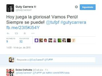 Perú vs. Brasil: Famosos alientan a la blanquirroja en Twitter
