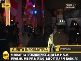Miraflores: Incendio se registró en un local de la calle de las pizzas
