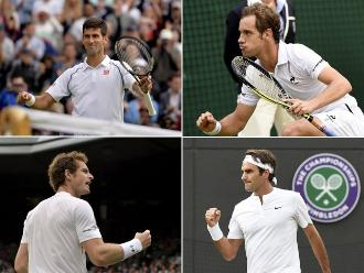 Wimbledon: Djokovic, Gasquet, Murray y Federer avanzan a semifinales
