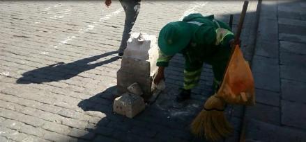 Arequipa: fragmentan perillón de sillar de la Plaza de Armas