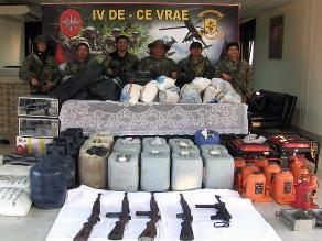 Vraem: decomisan más de 100 kilos de droga y armas de guerra