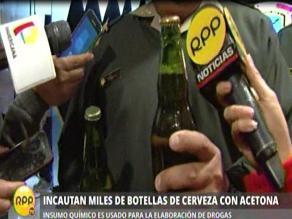 Transportaban acetona para elaborar cocaína en botellas de cerveza