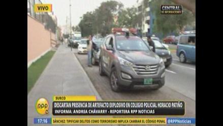 Descartan presencia de artefacto explosivo en colegio de Surco