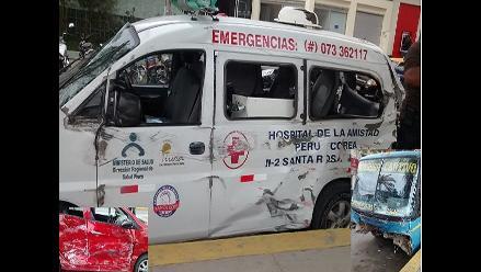Piura: bus choca ambulancia que trasladaba a gestante