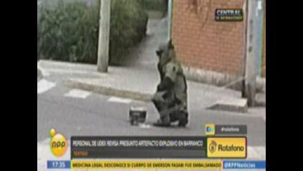 Presunto artefacto explosivo fue desactivado por UDEX en Barranco