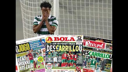 André Carrillo y Sporting Lisboa en portadas deportivas de Portugal