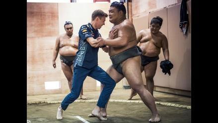 Facebook: pilotos de Fórmula 1 se enfrentaron a luchadores de sumo