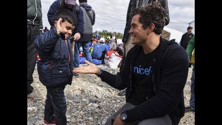 Orlando Bloom visitó a niños sirios refugiados