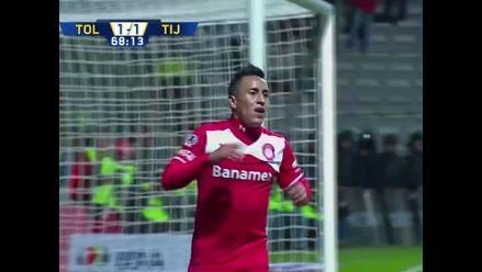 Christian Cueva marcó gol y dio asistencia en triunfo de Toluca 4-1 sobre Tijuana