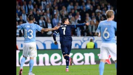 Malmö vs. Real Madrid: Cristiano aprovechó 'huacha' a Yotún para marcar