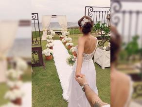 Karen Schwarz y Ezio Oliva compartieron foto de su boda