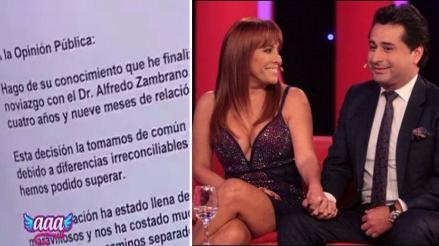 Magaly Medina terminó su romance con Alfredo Zambrano