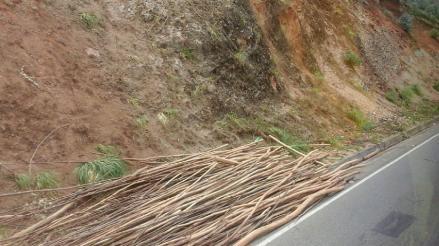Cajamarca: palos de madera en carretera ponen en peligro a conductores y viajeros