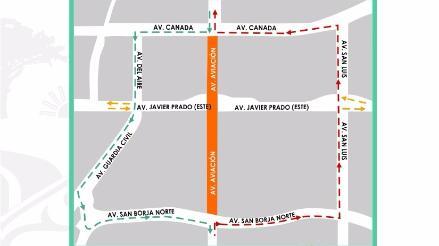 San Borja: restringirán tránsito nocturno en la av. Aviación por obras