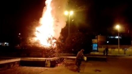 Desadaptados incendian árbol de la plazuela Miguel Grau de Cajamarca