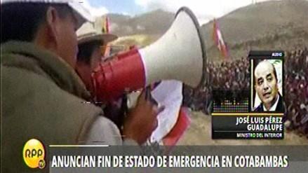 Levantan estado de emergencia en provincias de Apurímac y Cusco