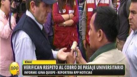 Fiscalizan el cobro de pasaje universitario en Lima