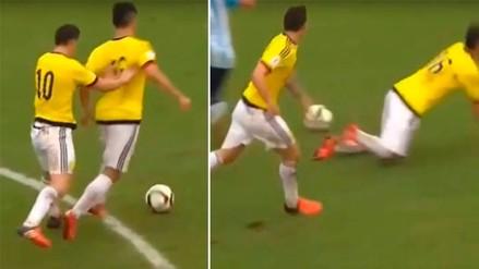 YouTube: James Rodríguez empujó a su compañero y el árbitro cobró falta a su favor