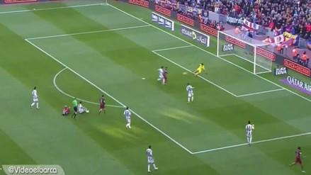 Barcelona vs. Real Sociedad: Dani Alves 'rompió' el offside para gol de Neymar