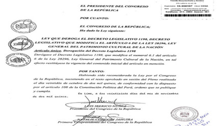 Promulgan Ley que deroga Decreto Legislativo 1198 en el Congreso