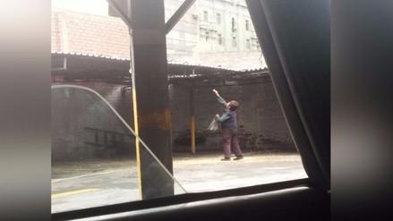 Centro de Lima: señora alimenta a palomas en estacionamiento